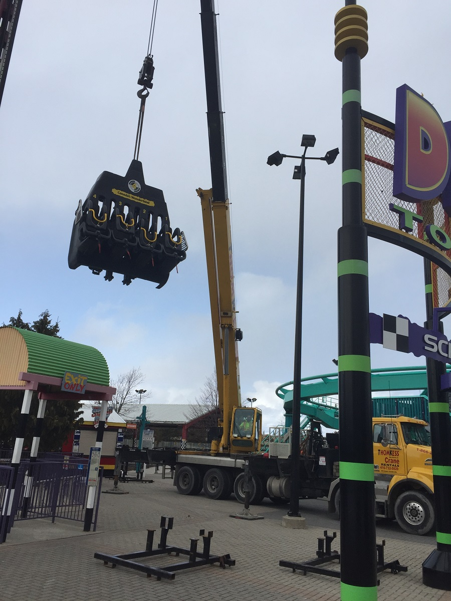 Thomkess Crane Rentals works with Canada's Wonderland on ride installations and maintenance.